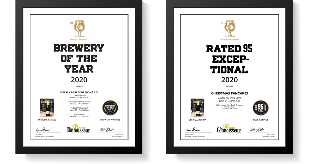 The Beer Connoisseur's Official Review Beer, Cider and Brewery Ratings & Awards Certificates