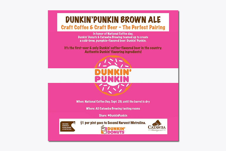 Catawba Collabs With Dunkin Donuts For Quot Dunkin Punkin