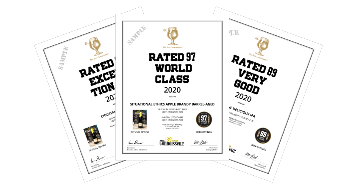 The Beer Connoisseur's Ratings & Awards Certificates