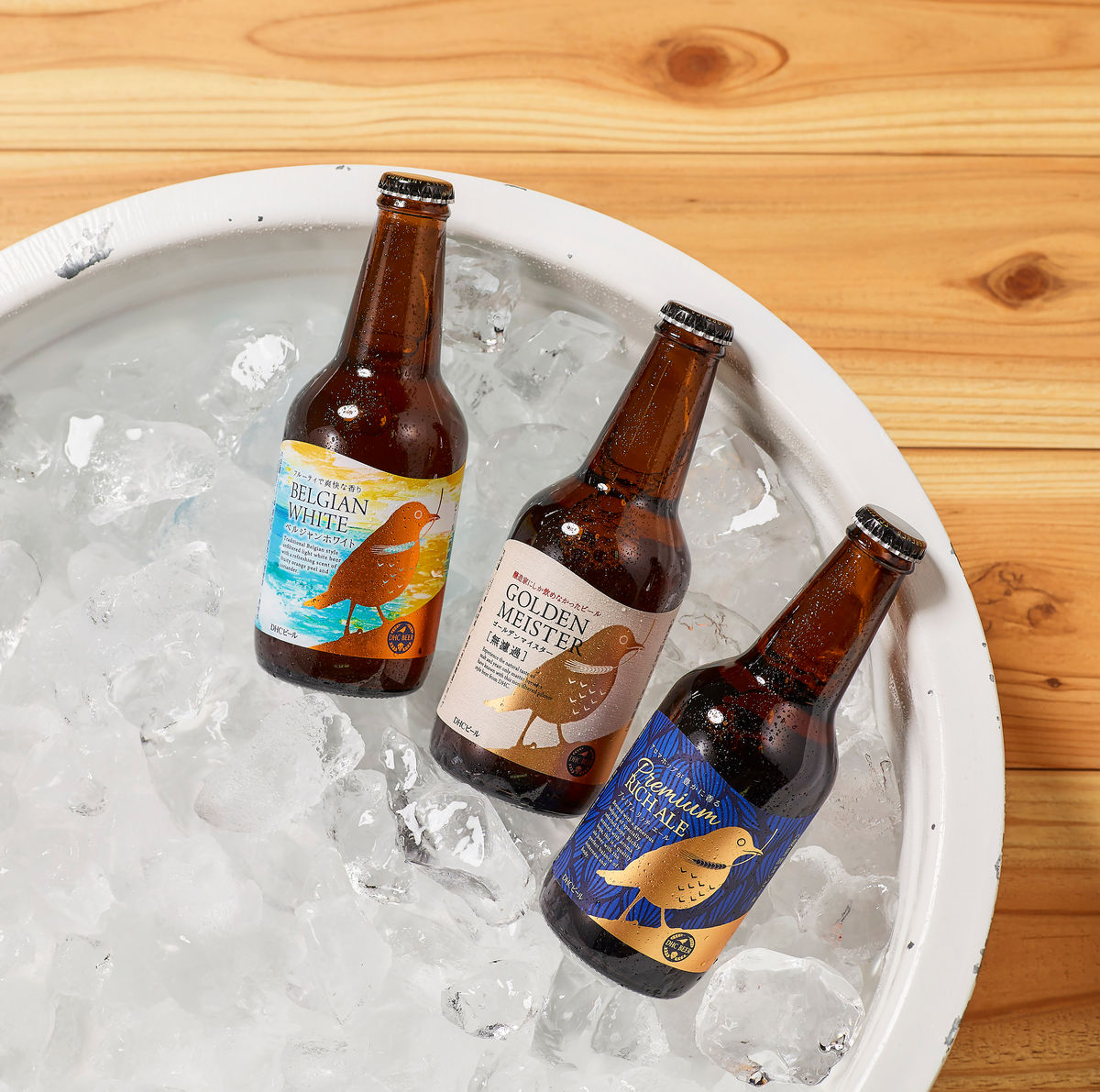 dhc beer co. beers chilling in an ice bucket