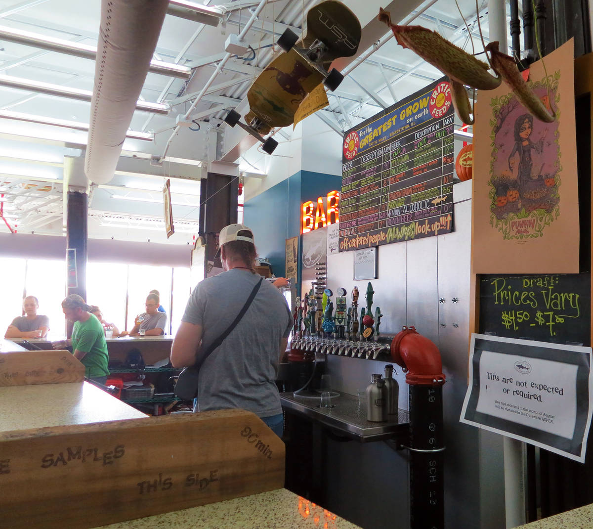 dogfish head craft brewery beer list in taproom