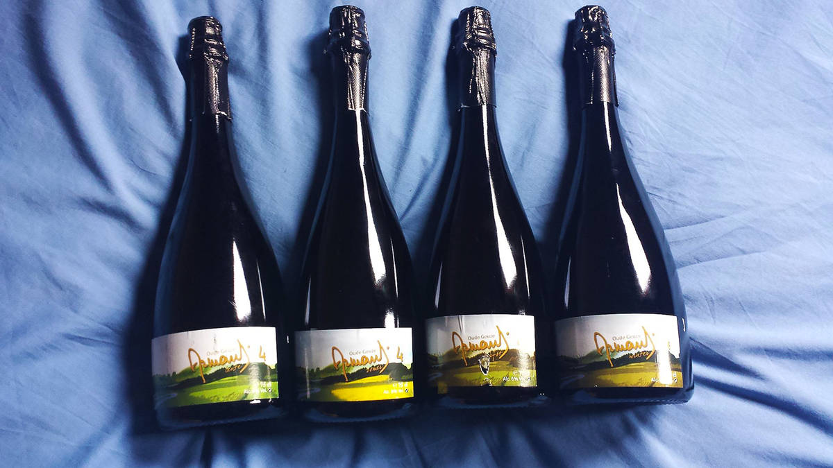 four bottles of Drie Fonteinen's Armand'4 Oude Geuze