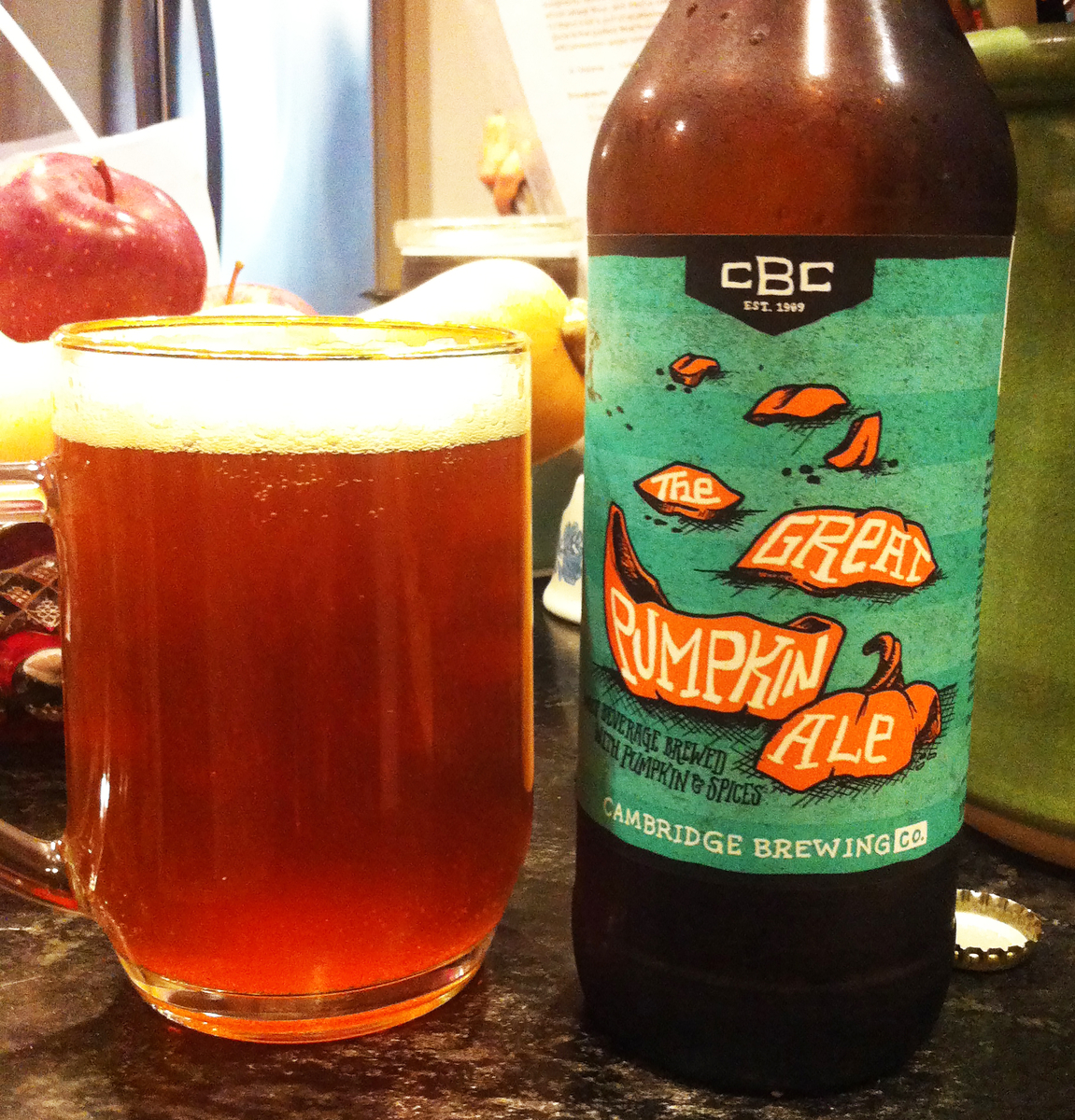 cambridge brewing co. the great pumpkin ale bottle and glass