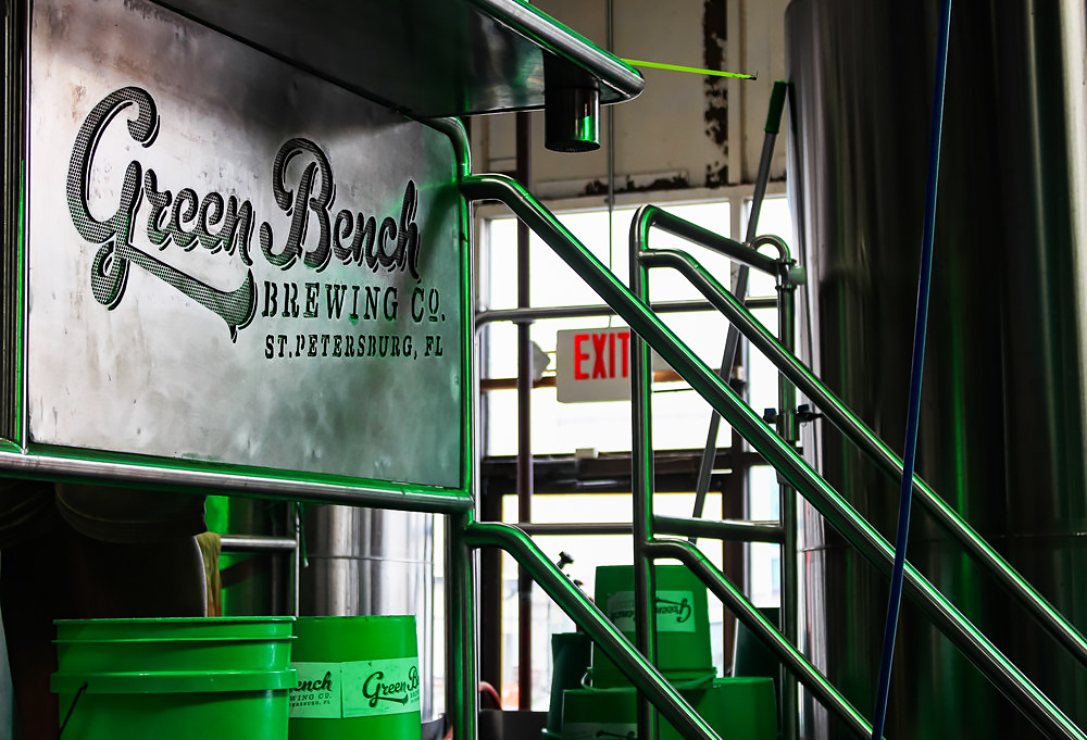 green bench brewing co. signage in brewhouse