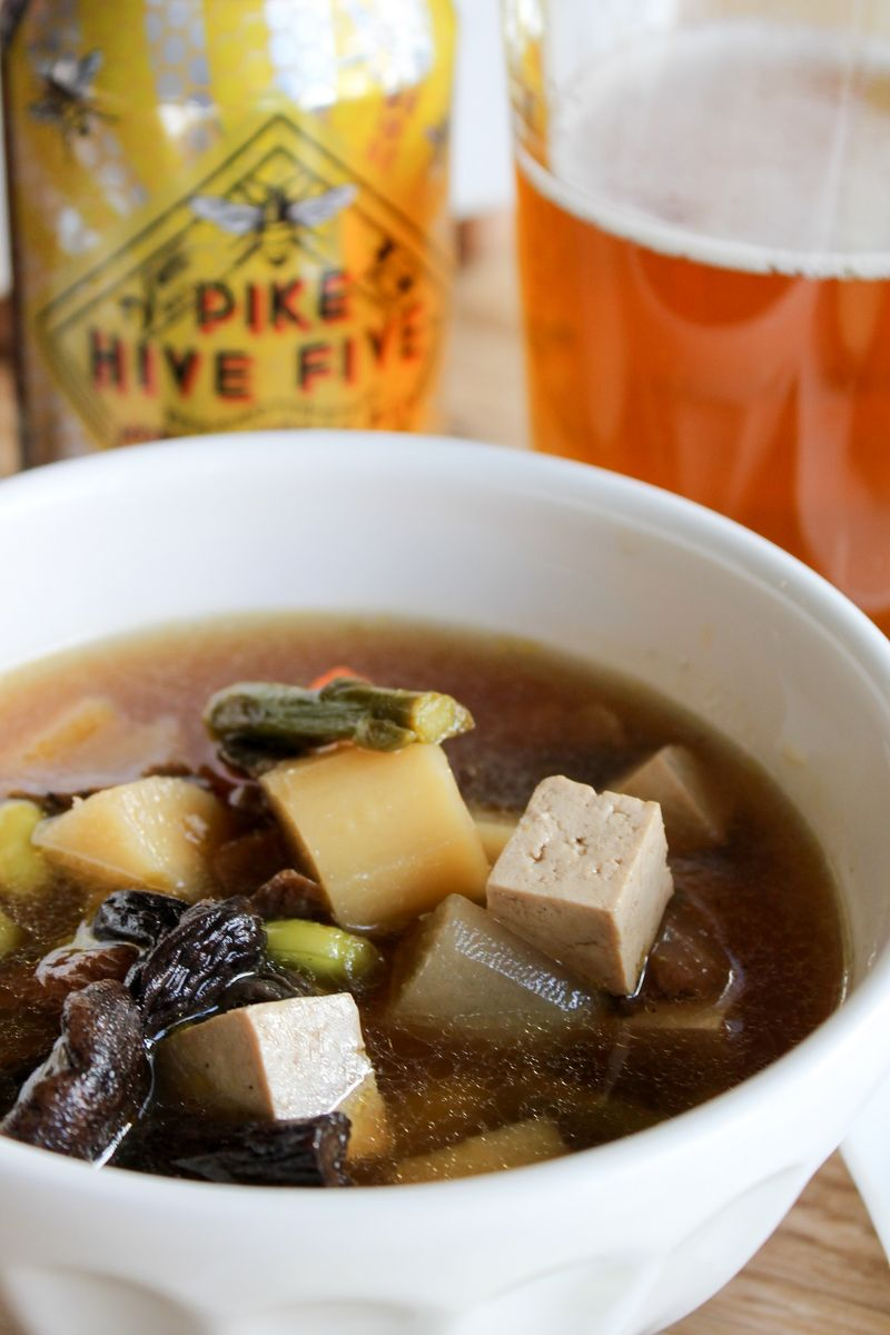 Pike Brewing Hive Five Paired with Kenchinjiru -Vegetable Soup
