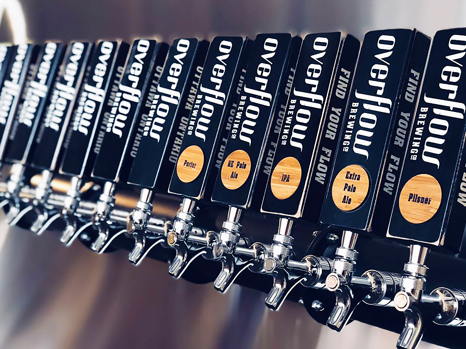 overflow brewing co. tap handles