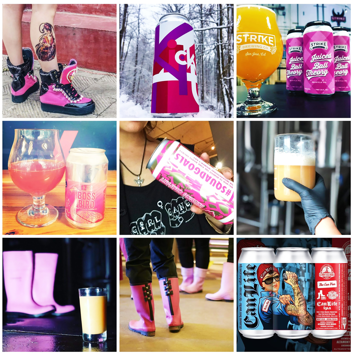 pink boots society collage