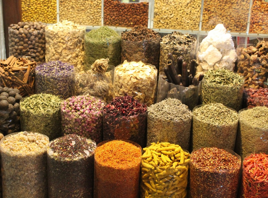 wide range of spices in containers