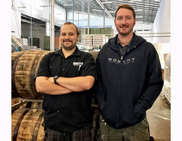 L to R: Jacob Zuchowski (lead brewer) and Dustin Kellner (brewmaster), Worthy Brewing