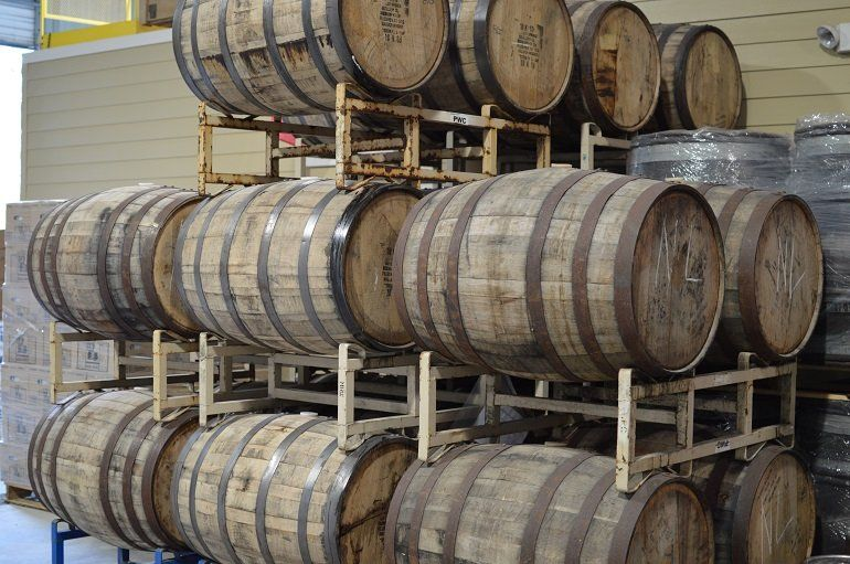 Barrels used to age Boucanee, a cherrywood smoked wheat beer. (Credit: Nora McGunnigle)