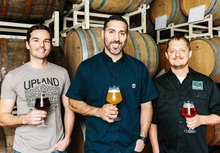 L-R: head brewer Matt Wisley, VP of Brewing Ops Pete Batule, Quality Manager Adam Covey