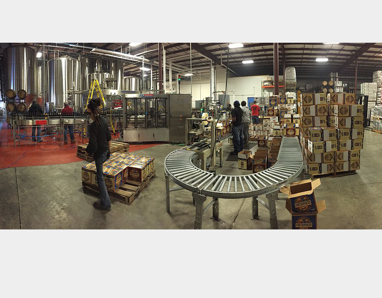 A panoramic view of the Shmaltz brewery in action.