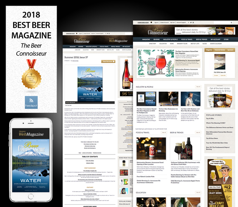 The Beer Connoisseur Named Best Beer Magazine of 2018 by Feedspot.com