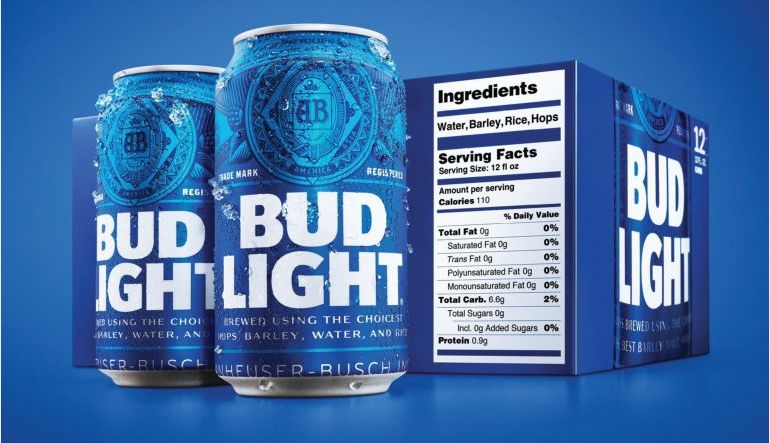 Bud Light Now Has Nutrition Facts Label on Packaging