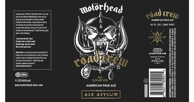Brew Pipeline and Ale Asylum Collaborates with Motörhead to Launch Röad Crew Beer for US Fans
