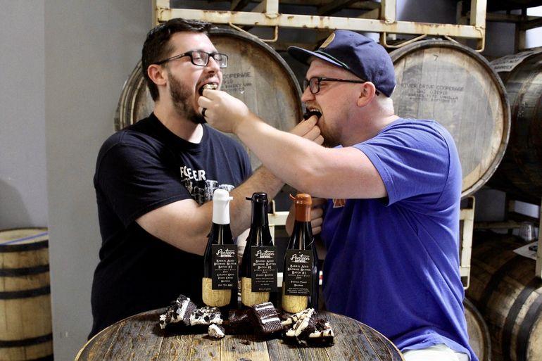 Owner Sean (right) and Brewmaster Chris (left) Talk Barrel Aged Brownie Batter Batch Blend #1