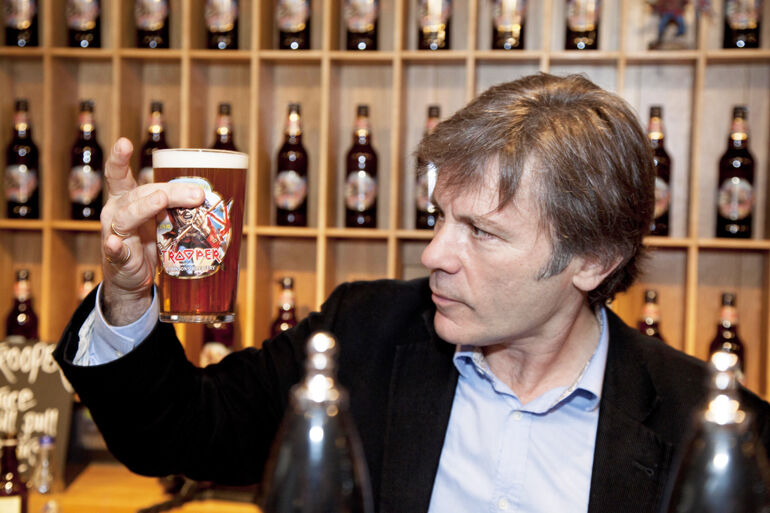 Metal icon and beer connoisseur Bruce Dickinson eyes a TROOPER ale.