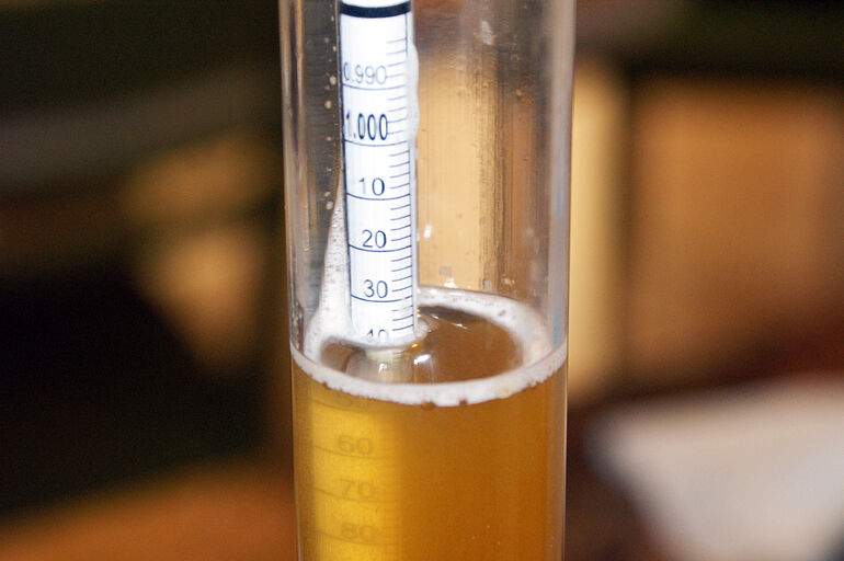 A must have for every brewer, the hydrometer measures the gravity of beer. (Photo by Daniel Spiess)
