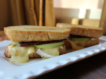 Sherry Dryja, Grilled Brie Sandwich with Apples and Caramel Walnuts