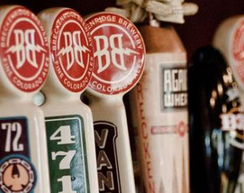 Tap handles at the brewery