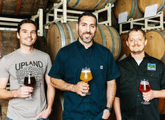 L-R: head brewer Matt Wisley, VP of Brewing Ops Pete Batule, Quality Manager Adam Covey