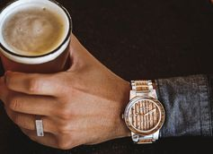 Original Grain Watches are handcrafted with wood from authentic reclaimed wooden barrels.
