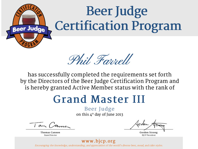 Phil Farrell BJCP Certification